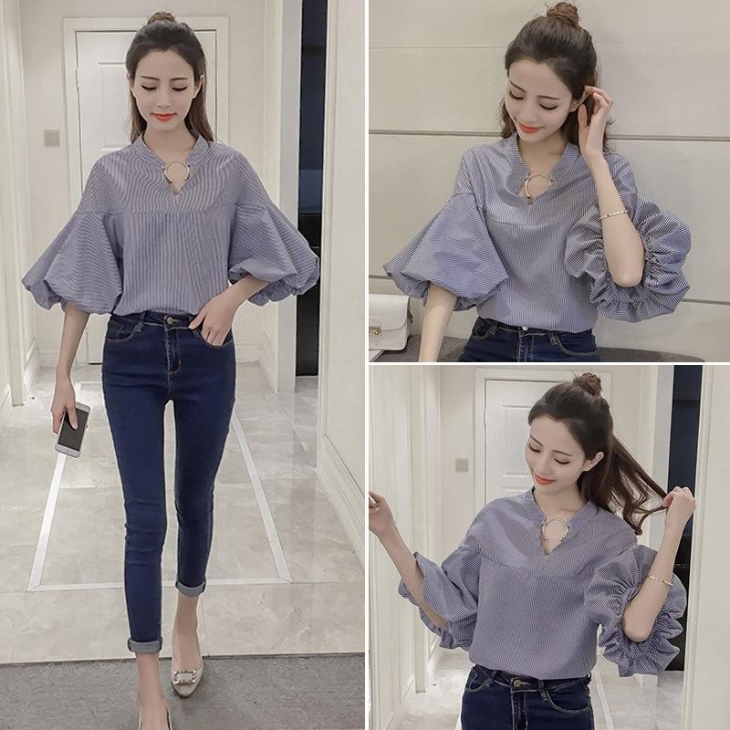 韓国ファッション ブラウス フリルブラウス シフォン ブラウス!女の子っぽさいっぱい!ブラウス,Tシャツ・カットソー ブラウス 着痩せ トップス カットソー ニット シャツ ブラウス 半袖