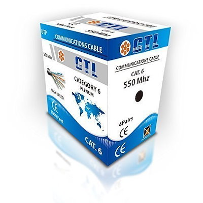 CTL Cat6 Plenum grey Professional Cable 550mhz 1000ft UTP Solid Bulk Cable