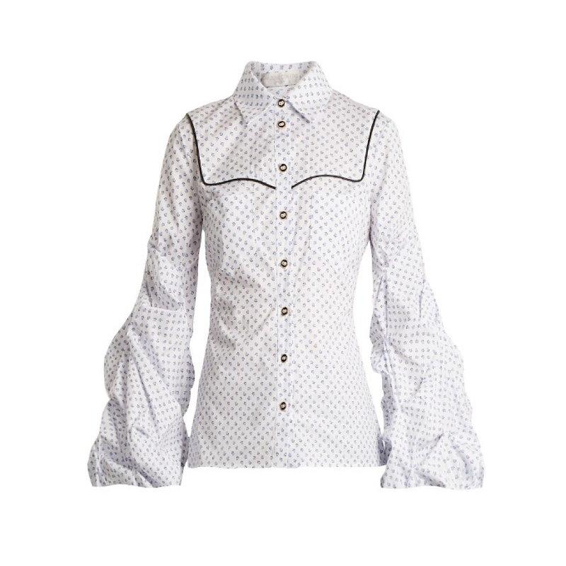 キャロライン コンスタス レディース トップス ブラウス・シャツ【Ambrose micro floral-print cotton shirt】White