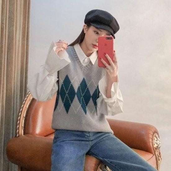 ホワイト・フォックスパクシピッアーガイル・ニットベスト ニット/セーター/ニット/韓国ファッション