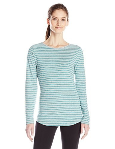 Hanes Womens Long Sleeve Tee, Eco Teal Stripe, Medium