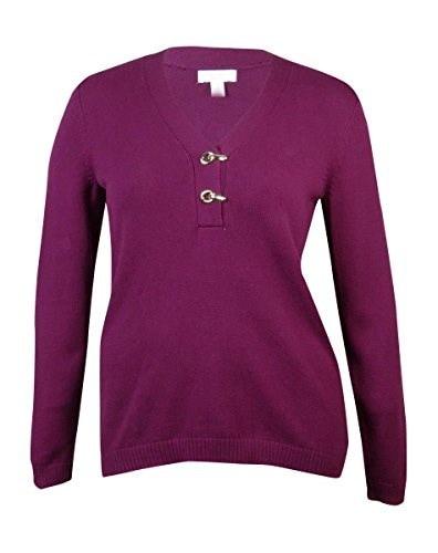 Charter Club Womens Clasp Detail V-Neck Knit Sweater (1X, Acai Berry)