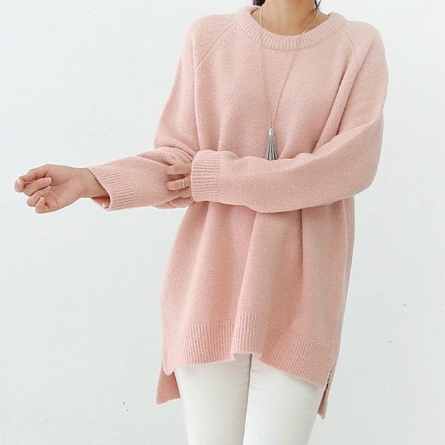 ルーズフィットナグランウールニットバハピョンピョンした厚みにウール混紡素材で、冬まで優しく着る良い