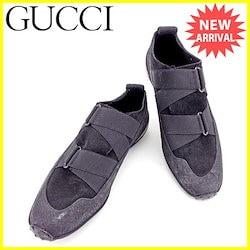 857cbcbd9c40 グッチ GUCCI シューズ スニーカー 靴 レディース ♯35ハーフC ゴムバンド ブラック キャンバス×レザー