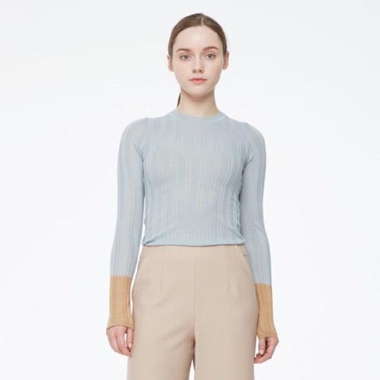 メゾン・つけた小売配色・スリーブスリムニートMH1KL263 ニット/セーター/韓国ファッション
