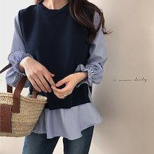 2019春新品 人気商品 韓国ファッション 2点セット/ニット+ブラウス/セット