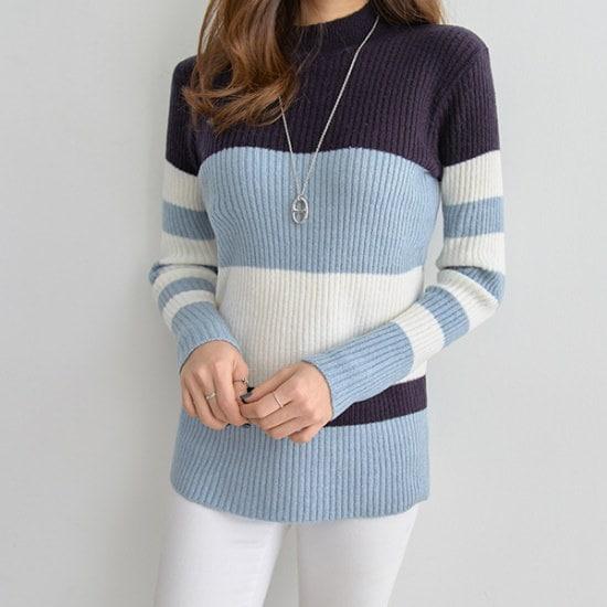 ペッパートリプル配色・ウィズ・ニット104729 ニット/セーター/ニット/韓国ファッション