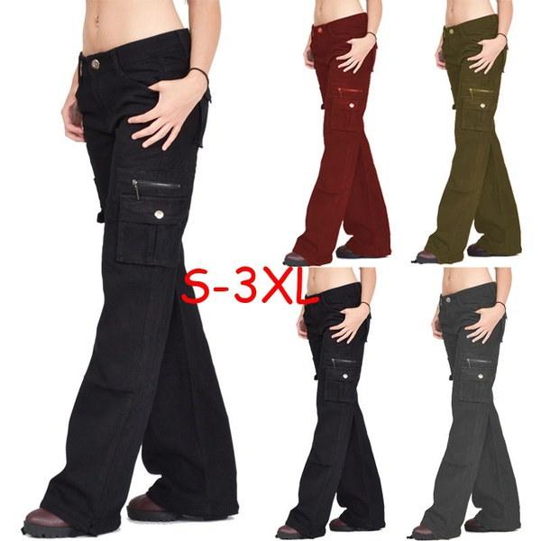 プラスサイズレディースファッションブラックワイドルーズコンバットズボンカーゴジーンズパンツ