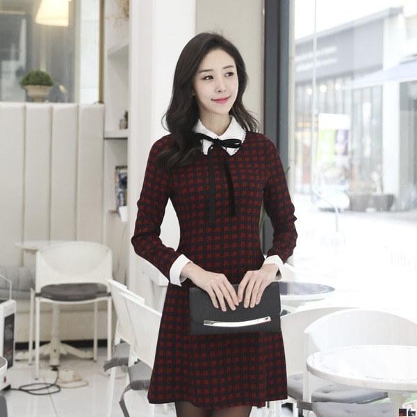 ベートリー見たチェックワンピース71204 new フレアワンピース/ワンピース/韓国ファッション