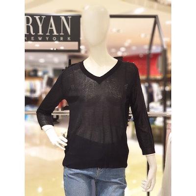 [AK公式ストア]【RYAN NEWYORK] 8〜9部Vネックニットシャツ(RNEKPO980)BK
