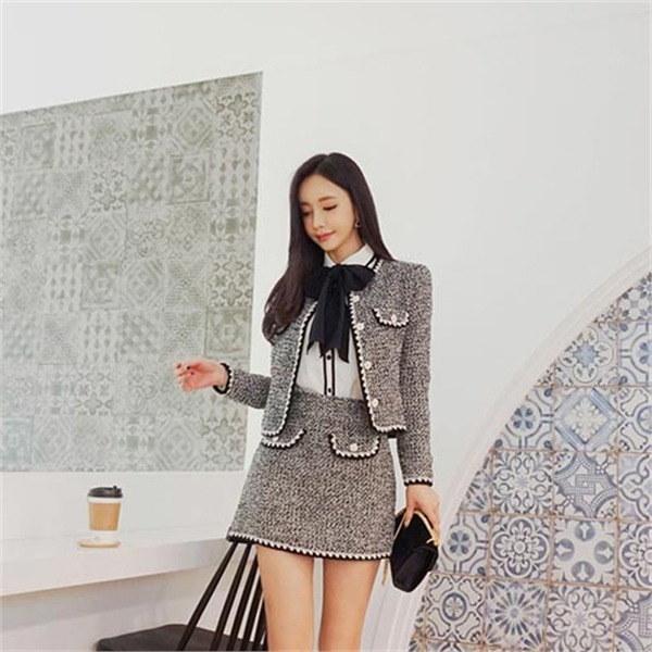 感性フラワーツイードの上着 女性のジャケット / 韓国ファッション/ジャケット/秋冬/レディース/ハーフ/ロング/
