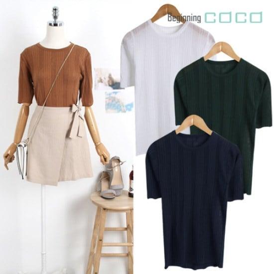 ビギニングココブロックジュルチャイム、半そでニット ニット/セーター/ニット/韓国ファッション