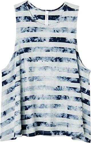 RVCA Juniors Mover Jersey High Neck Tie Dye Tank, White, Medium