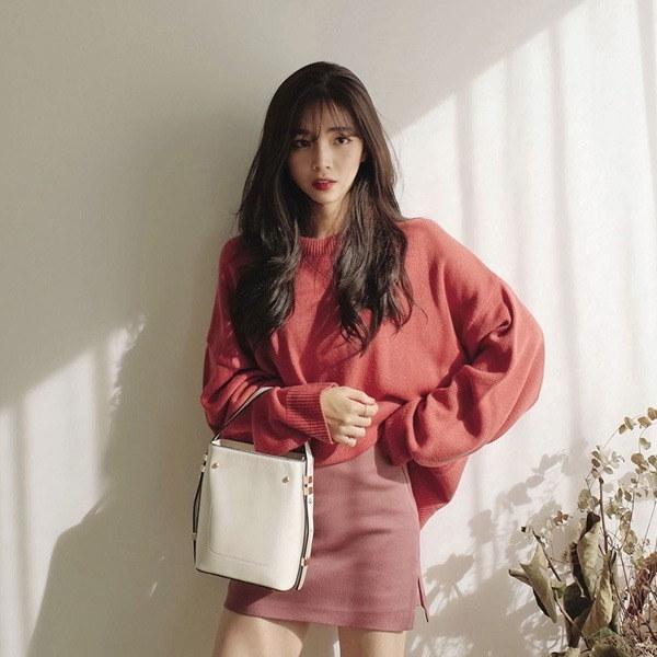 シンプルベーシックニットラウンドルーズフィットnew 女性ニット/ラウンドニット/韓国ファッション