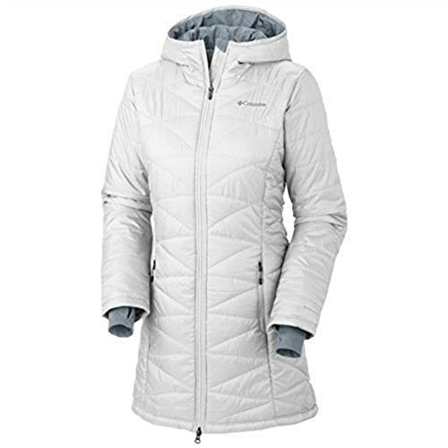 COLUMBIA WOMENS MORNING LIGHT OMNI HEAT LONG JACKET COAT LIGHTWEIGHT PUFFER white (XL)