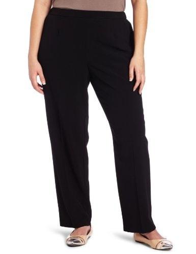 Briggs New York Womens Plus-Size Short Flat Front Straight Leg Pant, Black, 18