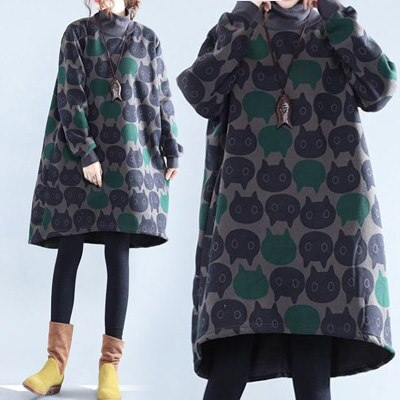 韓国ファッション**Turtleneck Dress / One-Piece /起毛