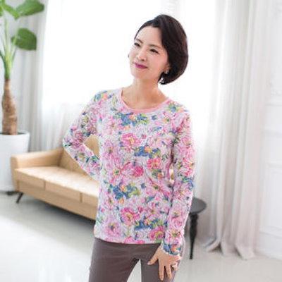 モンテミラノピンク花捺染ラウンドティーシャツDP506TE4660RE プリント/キャラクターシャツ / 韓国ファッション