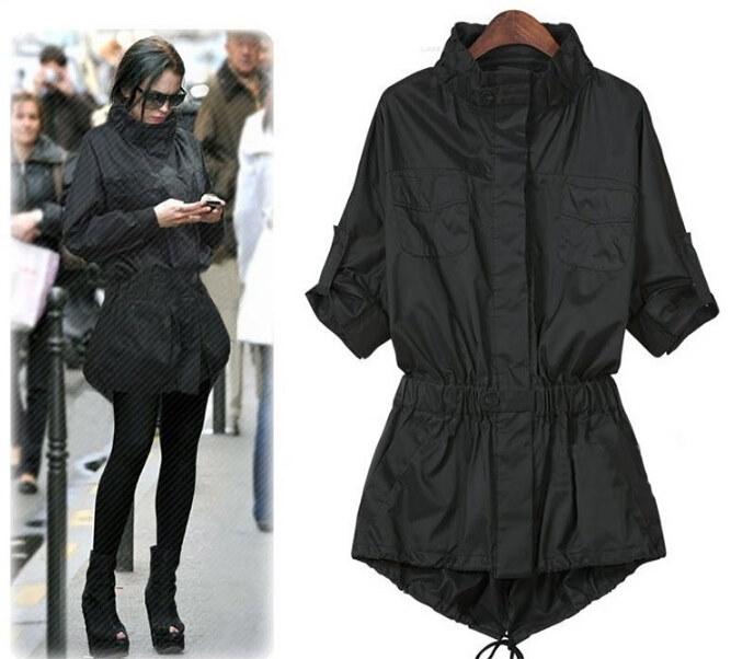 女性の新しい長袖ロングコートコート黒長いセクション女性ウインドブレーカーファッションレディースジャケット