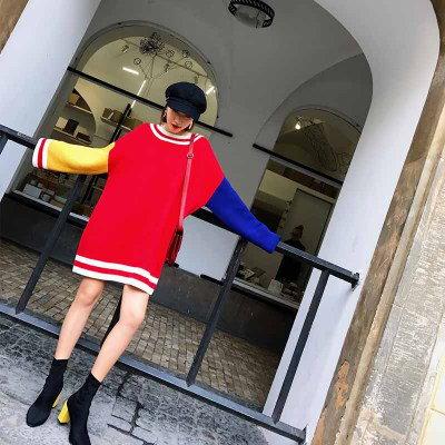 2018 春新作 韓国ファッション レディース  ニット人気  長袖 カットソー  ミディアム  セーター   体型 カバー  トップス  上質/2COLOR  D71281