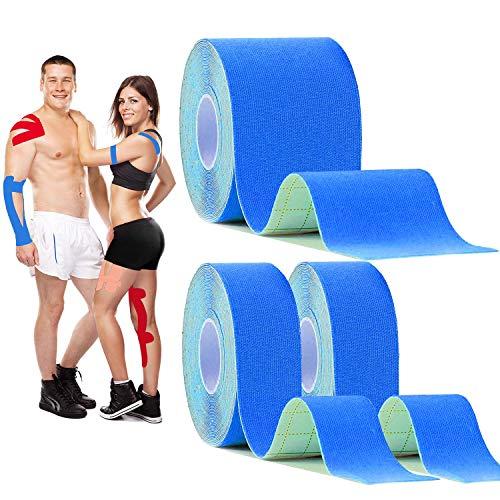 キネシオロジーテープ 膝と肘の弾性治療スポーツテープ 1卷5cm x 5m / 2卷2.5cm x 5m 防水運動生理学筋肉ストリップ、通気性、 筋肉テープ 筋肉・関節をサポート伸縮性強い