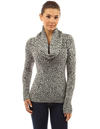 PattyBoutik Womens Drawstring Cowl Neck Marled Sweater (Black and White M)