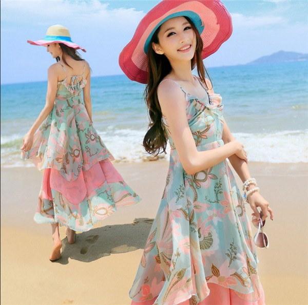 レディースワンピース ビーチワンピース 砂浜 プリント 波西米? ファッション ハイセンス 着心地いい おしゃれ 夏 レディースワンピース