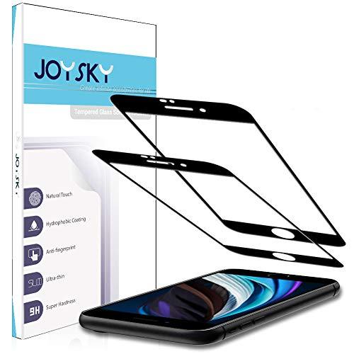 二枚入り 独創 iPhone SE 第2世代 (2020) 用 全面保護フィルム 強化ガラス JOYSKY 2.5Dラウンドエッジ 日本旭硝子硬度9H 高透過率[黒い縁部分は炭繊維素材] フルカバー
