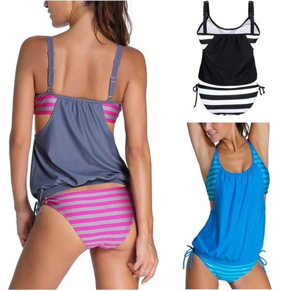 ファッションセクシーな女性のストライプは、タンキニビキニ水着のダブルアップに並んで