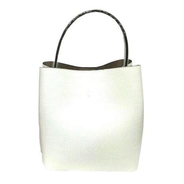 柔らか素材のダブルポケット2wayトート〔Lサイズ〕 アイボリー