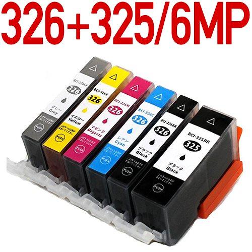 BCI-326+325/6MP〔キヤノン/Canon〕対応 互換インクカートリッジ6色パック ICチップ付きBCI-326+BCI-325/6MP 6色セット