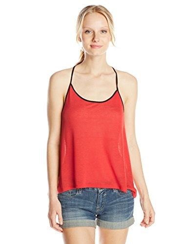 Derek Heart Juniors High Low Tank Top with Contrast Chiffon Back Strap, Fiesta Orange, Small