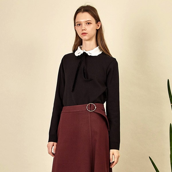 [韓国直送] 【オリーブデオリーブ] blouse neck layerd knit OK7WP817