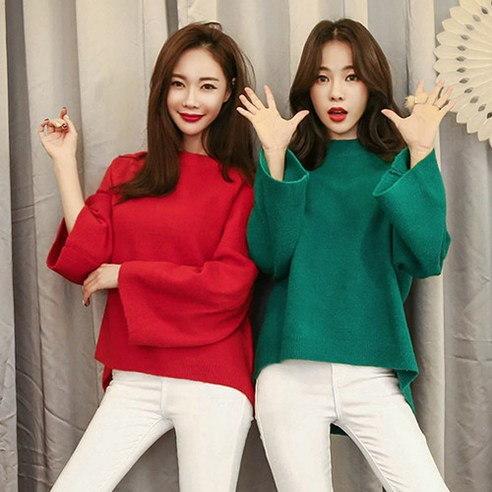 【WhiteFox]ラッパ袖アン発行大きいニットニットkorea fashion style free shipping