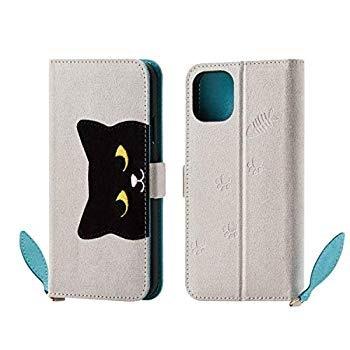 エレコム iPhone 11 ケース ソフトレザー [ネコと目が合うケース] フェルト調生地 ブラウン PM-A19CPLFJA201