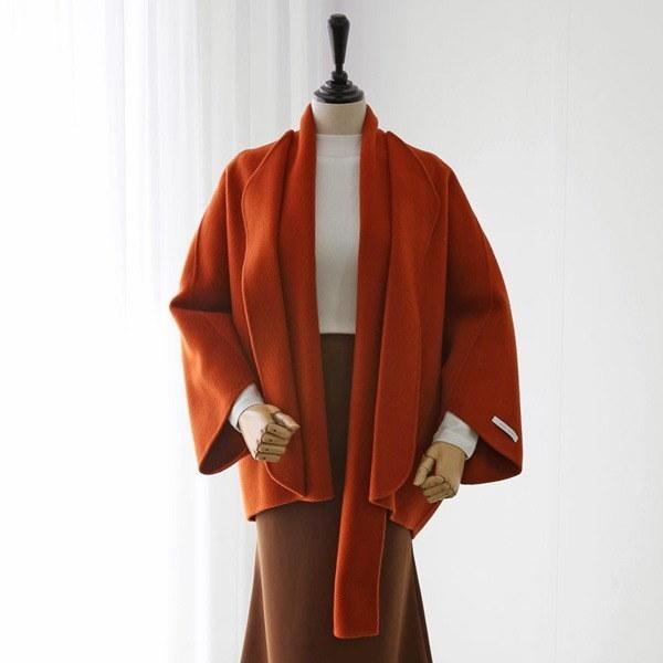 マフラーハンドメードショールコートJK007D7 女性のコート/ 韓国ファッション/ジャケット/秋冬/レディース/ハーフ/ロング/
