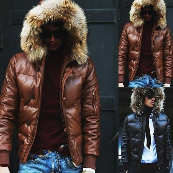 新しいファッション2017メンズダウンコート冬スリムフリースカジュアルフード付きパーカーブランドデザインファッションウォーム