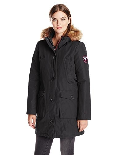 Tommy Hilfiger Womens Down Filled Parka, Black, Large