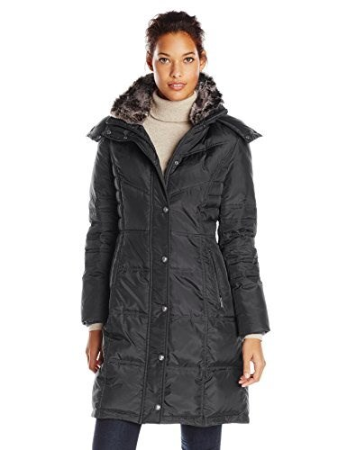 London Fog Womens Chevron Down Coat with Fur Trim Neck, Black, Medium