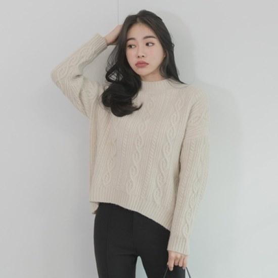 ホワイト・フォックスベイジクオンバルケーブル・ニット ニット/セーター/ニット/韓国ファッション