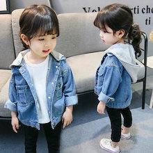 9ebc39a144b 韓国こども服 デニムジャケット パーカー女の子 カジュアル デニム キッズ用 子供服 普段着 小学生 ボトムス