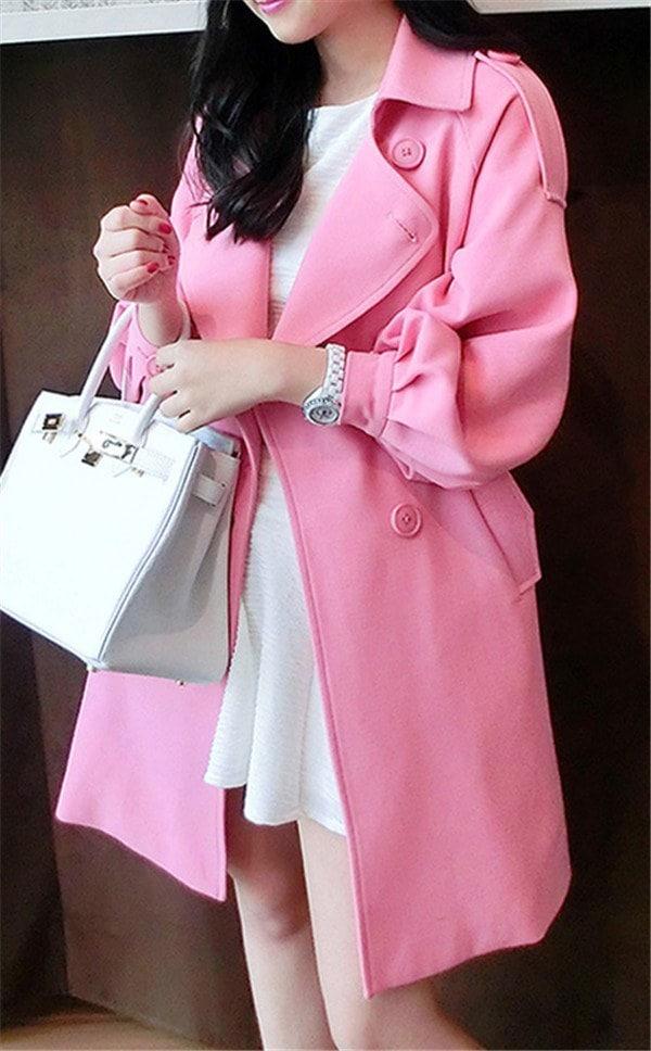 コートレディース トレンチコート レジャー Wボタン ピンク ファッション 着心地よい 春新作 通勤 きれいめ春コート レディースコート
