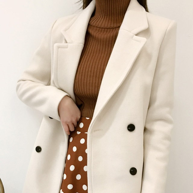 (ウール90%)簡単にコーディネート良いハーフコートkorean fashion style