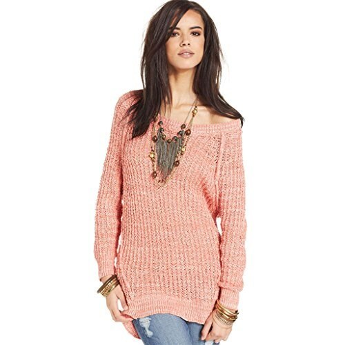 American rag womens Longsleeve Marled High-low Sweater coral almond (s)