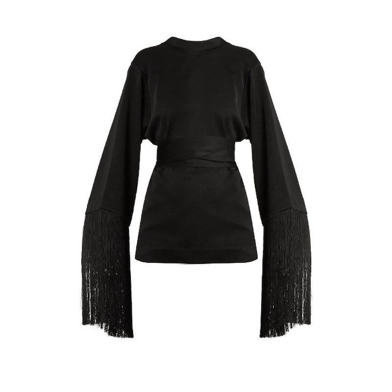 エラリー レディース トップス【Lottery round-neck tassel-embellished top】Black
