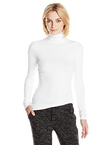 Michael Stars Womens 2X1 Rib Long Sleeve Turtleneck, White, One Size