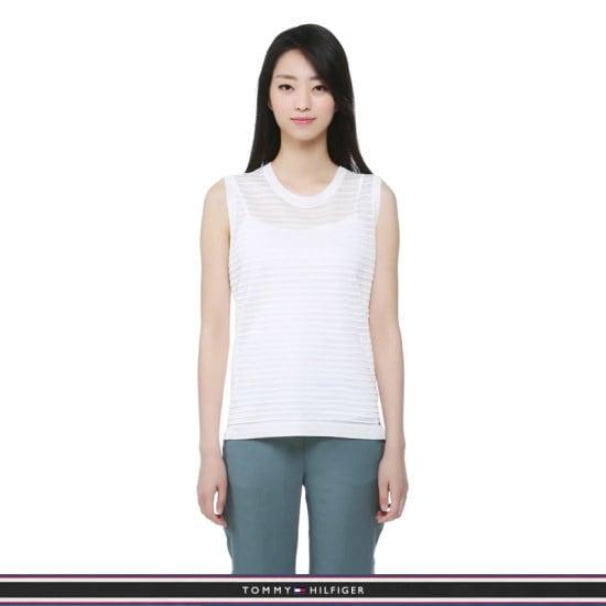 トミー・ヒルフィガー女性、シアー・クルー・ネック・スルリブリスセーターTFMP2WOE17A0118 ニット/セーター/ストライプニット/韓国ファッション
