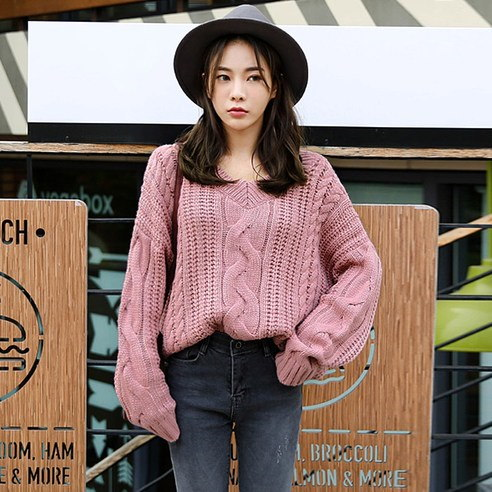 【WhiteFox] Vネッククァベギ編みニットニットkorea fashion style free shipping