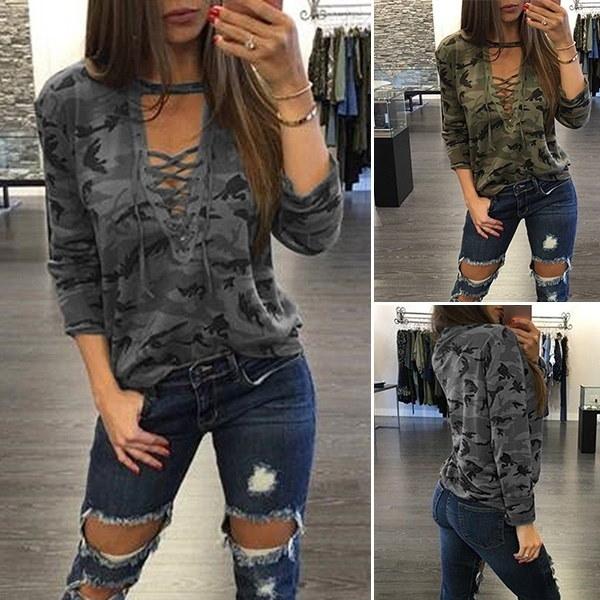 THLOVESレディースファッションストラップローカットプリントプルオーバーロングスリーブカモTシャツ
