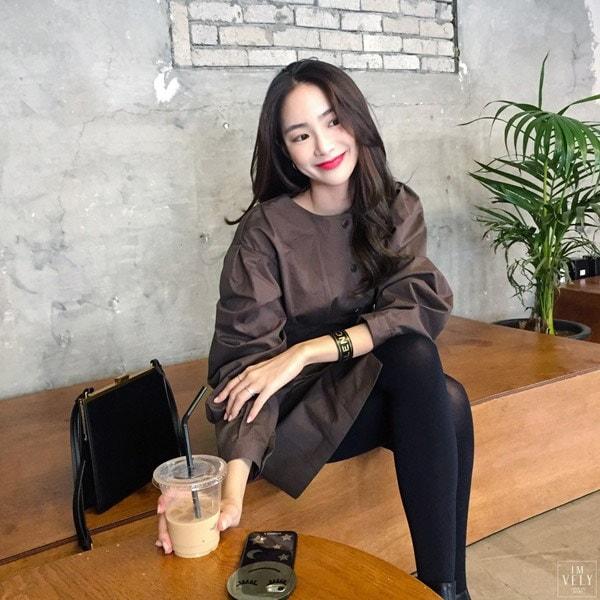 ココアシャドウワンピース/韓国ファッション/イムブリー/IMVELY
